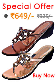 Beautiful V-shape chappal with design made of glittering chain of stones for girls